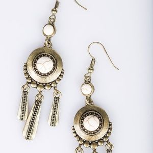 Boho White Stone Earrings Tasseled with Brass bars